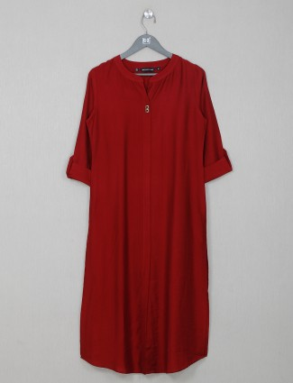 Casual wear maroon cotton kurti