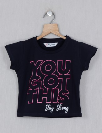 Casual wear navy printed girls cotton top