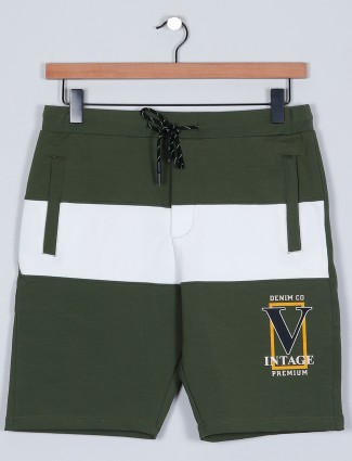 Casual wear olive green cotton shorts for men