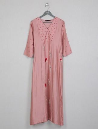 Casual wear peach cotton kurti for women