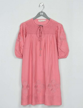Casual wear pink cotton western top