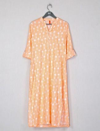 Casual wear printed cotton kurti in light orange