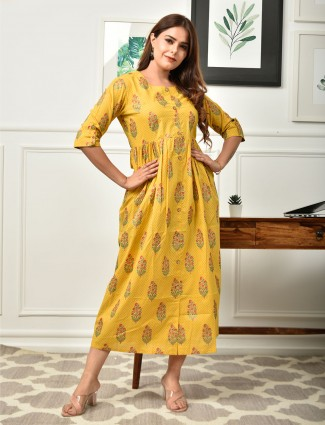 Casual wear printed kurti for women in mustard hue