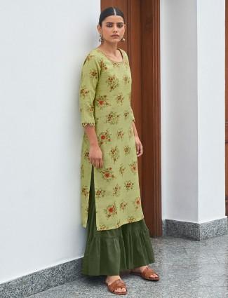 Casual wear printed kurti for women in pista green hue