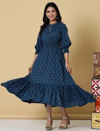 Casual wear printed kurti in navy hue