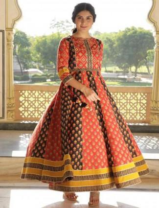 Casual wear printed kurti in rust orange hue