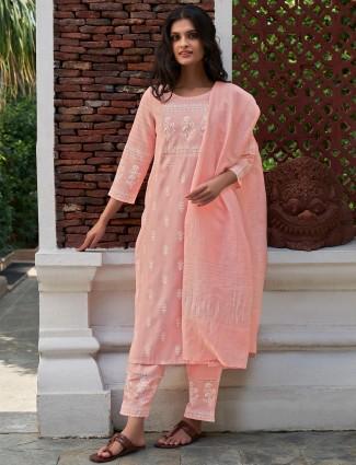 Casual wear printed punjabi pink cotton kurti set