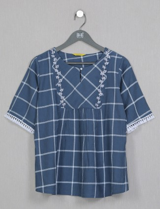 Casual wear printed top in blue cotton