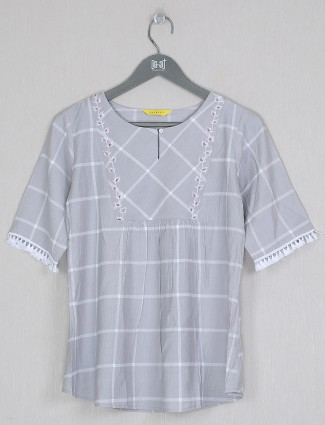Casual wear printed top in grey cotton