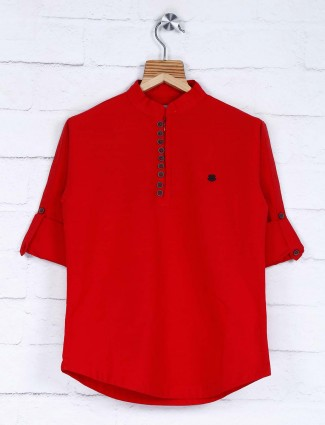 Casual wear red cotton solid shirt