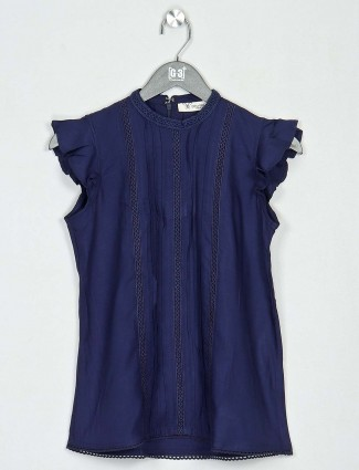 Casual wear top in navy cotton