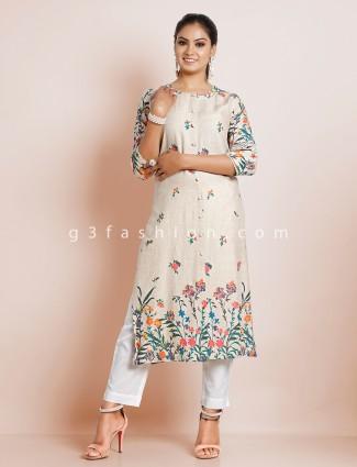 Casual wear beige printed kurti in cotton