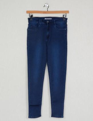 Causal wear dark blue solid denim for ladies
