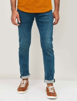 Celio blue denim washed slim fit jeans