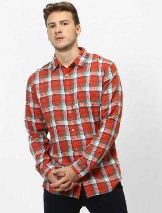 Celio checks orange cotton shirt