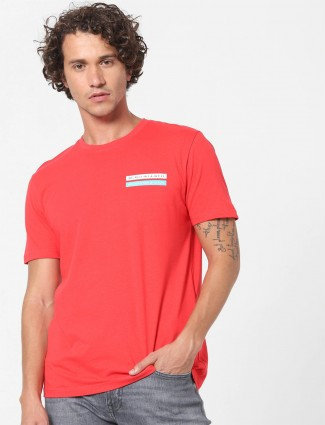 Celio red printed t-shirt in cotton