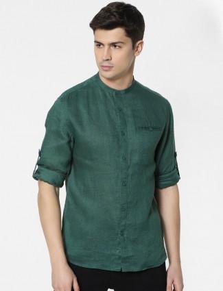 Celio solid green cotton casual shirt