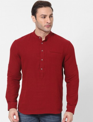 Celio solid red casual wear shirt