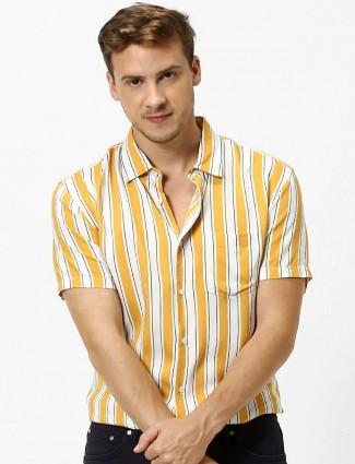 Celio stripe yellow and white slim fit mens shirt