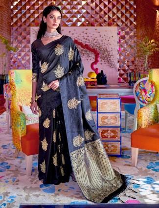 Charcoal grey jacquard silk saree for wedding occasions