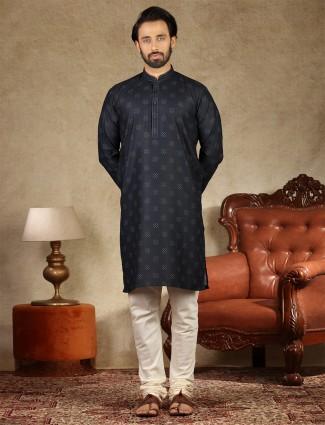Charcoal grey cotton festive wear kurta suit