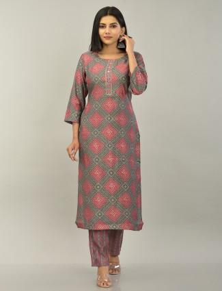 Charcoal grey punjabi style festive cotton pant suit
