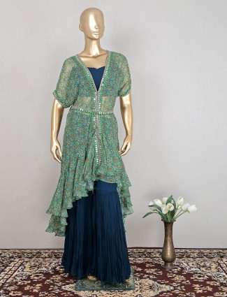 Charming peacock blue georgette reception and wedding wear sharara suit