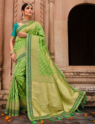 Chartreuse green wedding session saree in dola silk
