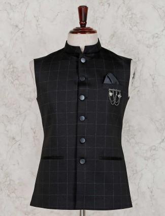 Checks design black terry rayon waistcoat