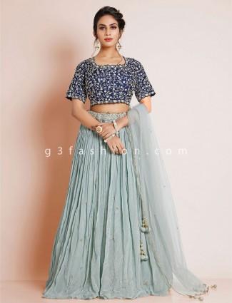 Chiffon designer grey wedding wear lehenga choli