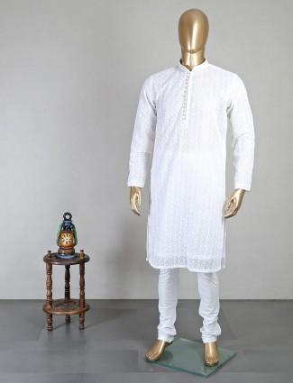 Chikan thread work white georgette kurta suit for mens