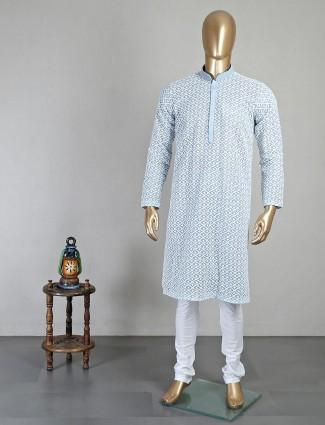 Chikan thread woven blue georgette kurta suit