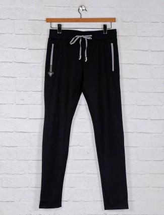 Chopstick black cotton solid mens track pant