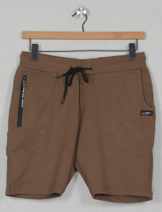 Chopstick brown solid shorts in cotton