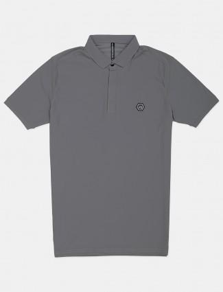 Chopstick casual wear grey solid polo t-shirt