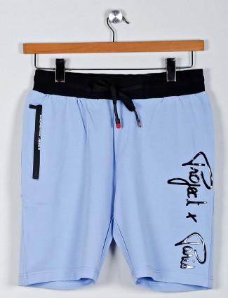 Chopstick cotton blue printed shorts