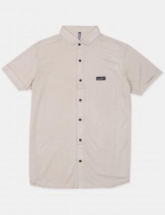 Chopstick cotton casual shirt in beige