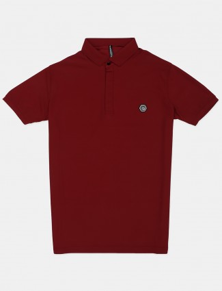 Chopstick maroon solid polo t-shirt