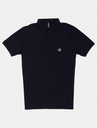 Chopstick navy solid casual polo t-shirt