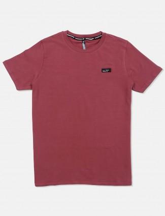 Chopstick pink half sleeves cotton t-shirt