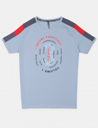 Chopstick printed style grey casual t-shirt for mens