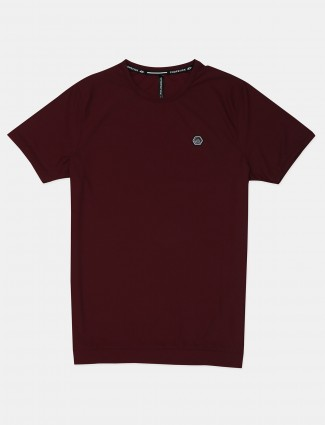 Chopstick solid maroon casual t-shirt