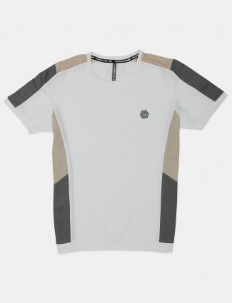 Chopstick solid off white half sleeves t-shirt