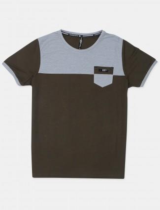 Chopstick solid pattern olive green cotton mens t-shirt