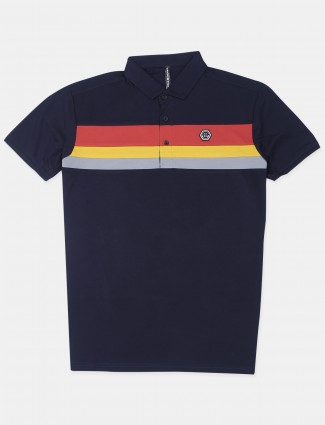 Chopstick solid style navy cotton t-shirt