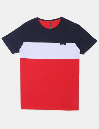 Chopstick solid style red cotton t-shirt
