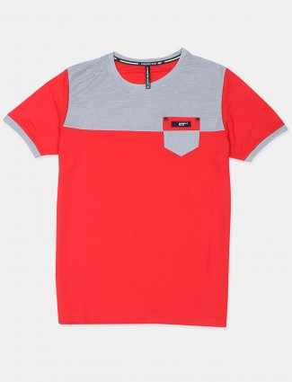 Chopstick solid style ruby red cotton t-shirt
