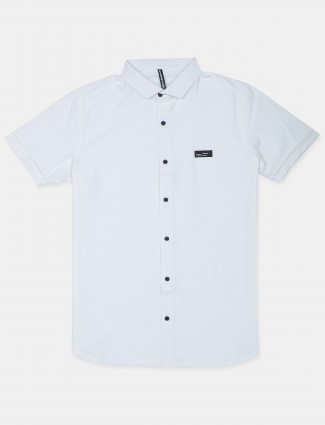 Chopstick solid white casual shirt