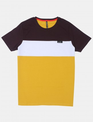 Chopstick yellow solid style mens t-shirt in cotton