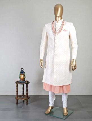Classic peach silk sherwani for groom
